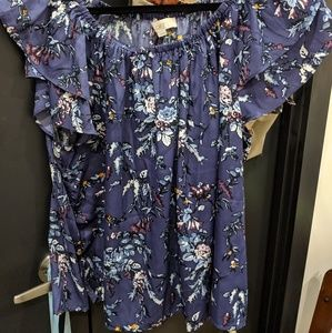 Loft NWT Purple Floral Ruffle Top